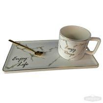 """""""Enjoy life"""" Kávés teás kerámia csésze szett kanállal – fehér márvány"""