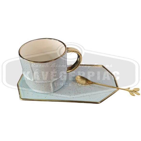 Kávés teás kerámia csésze szett kanállal – világos kék