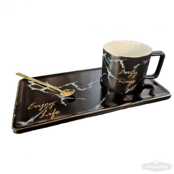 """""""Enjoy life"""" Kávés teás kerámia csésze szett kanállal – fekete márvány"""